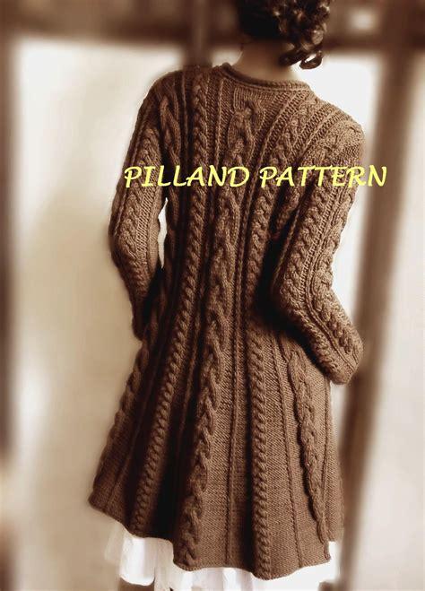 sweater knitting pattern sweater coat knitting pattern pdf cable knit a line coat