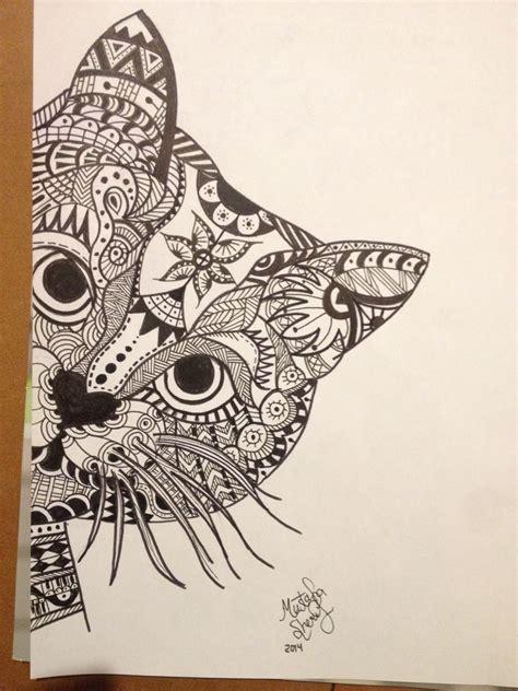 doodle cat drawings zentangle cat zentangles