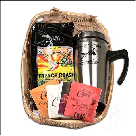 Gourmet Organic Fair Trade Coffee and Tea Gift Basket with Stainless Travel Mug