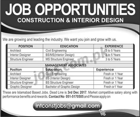 design engineer govt jobs construction interior design company jobs 2018 for