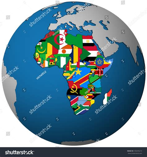 africa map globe countries territories flag on map stock