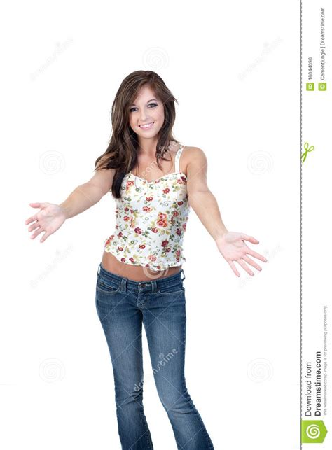 teen girl welcoming  open arms stock photo image
