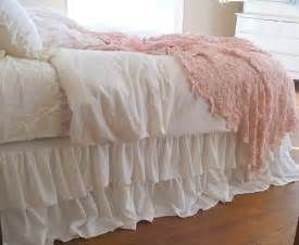 Shabby chic bedding romantic tiered ruffle dust by tickingandtoile