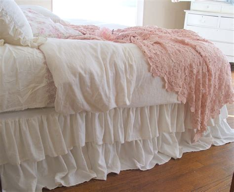 ruffled coverlet shabby chic bedding romantic tiered ruffle dust ruffle bed
