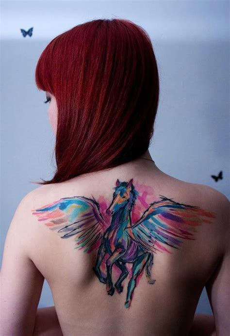 watercolor tattoo upper back watercolor winged on back tattoos