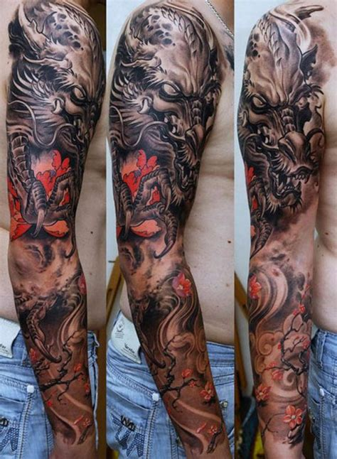 black and grey tattoo with red black and grey sleeve with red highlights tattoos