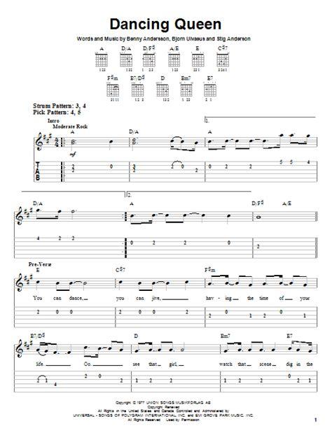 printable lyrics dancing queen abba dancing queen by abba easy guitar tab guitar instructor