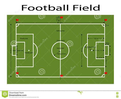 football ground measurement in meter green football field ground green soccer filed ground measurements standard sport vector