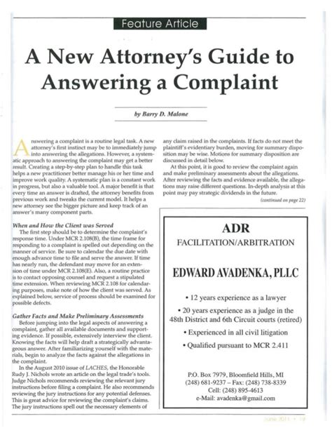 a barrister s guide to a new attorney s guide to answering a complaint