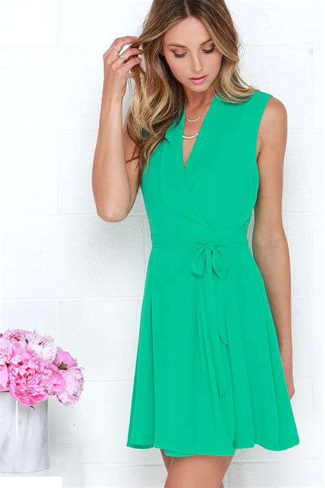Simply Poly Shawl chic green dress wrap dress sleeveless dress 40 00