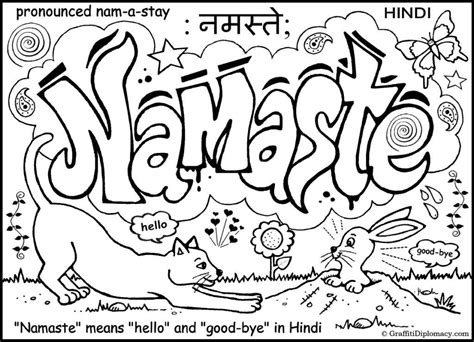 namaste graffiti free coloring page art stuff for