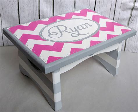 pink wooden step stool artisan painted custom wooden step stool pink grey