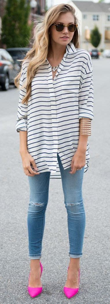 Pink Style Stripe Casual Top 24627 1000 images about style casual on boyfriend white blazers and