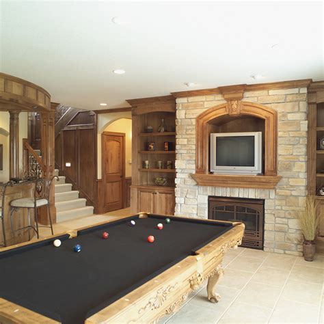 this archetypical 50 s rec room basement features the parklawn luxury home plan 051s 0053 house plans and more