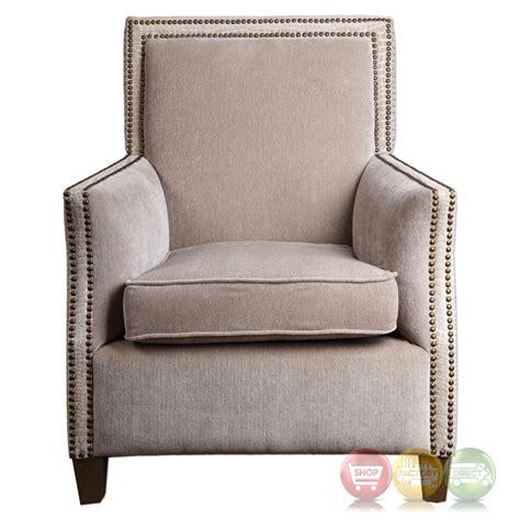 chenille armchair darrick oatmeal chenille armchair with double row antiqued brass nail head trim