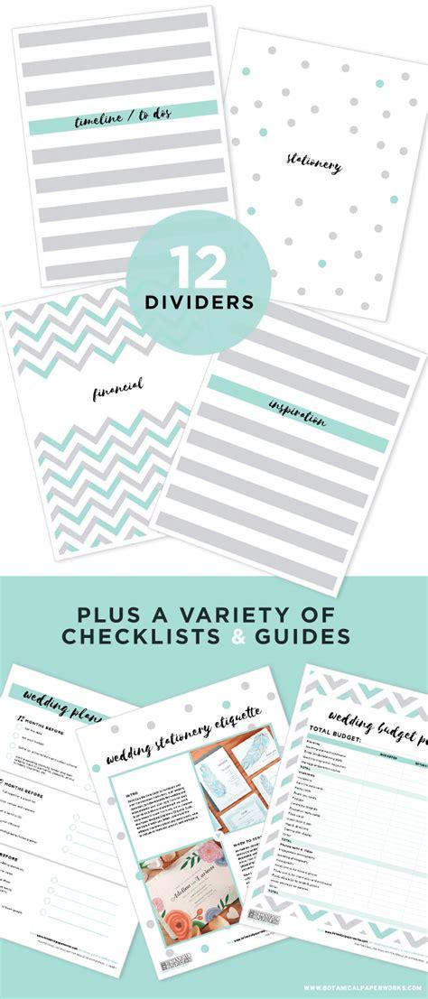 printable wedding planning binder blog botanical