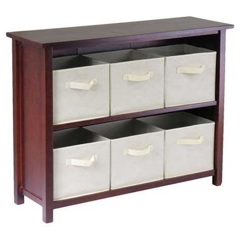 shelves with baskets for storage winsome verona low storage shelf with 6 foldable baskets