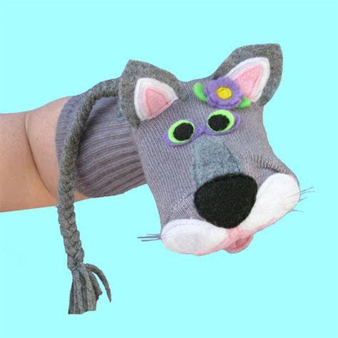 cat sock puppet handmade gray cat sock puppet by sockhollow on etsy
