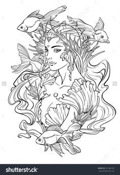 adult mermaid with long hair by lian2011 coloring pages vector hand drawn pattern anti stress coloring book page