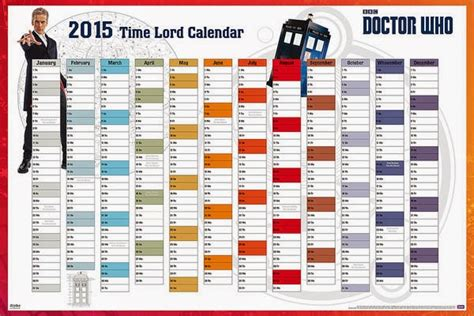 Calendario Doctor Who 2015 Calendario Poster 2015 Doctor Who Calendario De Pared