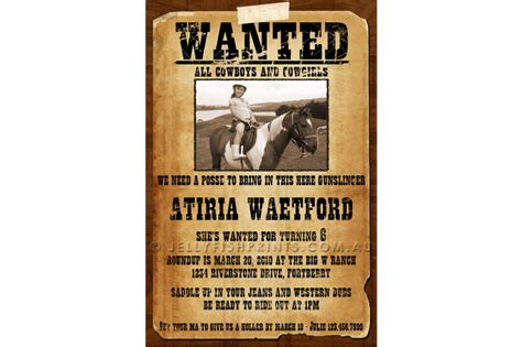 wanted invitation template best photos of cowboy wanted poster template cowboy