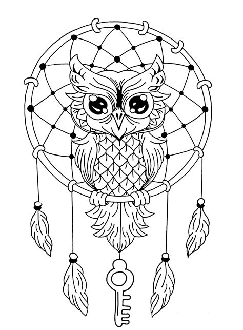 owl mandala coloring pages for adults owl dreamcatcher animals coloring pages for adults