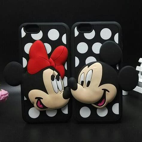 Iphone 5 5s 3d Silicone Disney Mickey Minnie Mouse Back Cover capa iphone 5 6 2 em 1 3d minnie mickey disney pelicula