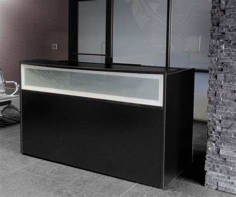 Black Reception Desk W Frosted Glass Panel Black Reception Desks