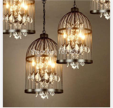 home decoration lights 35 45cm nordic birdcage crystal pendant lights iron cage