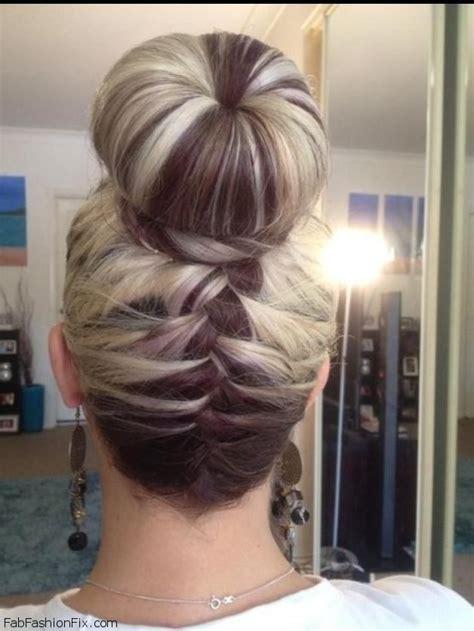 braids abd then hanging down hair upside down french braid bun hairstyle tutorial