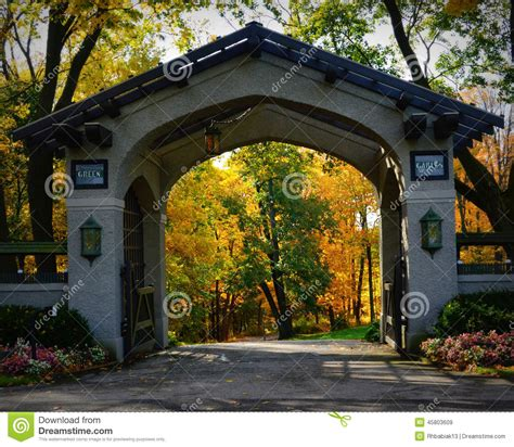 Beautiful House Plans by Green Gables Driveway Entrance Gate Fall Colors Stock