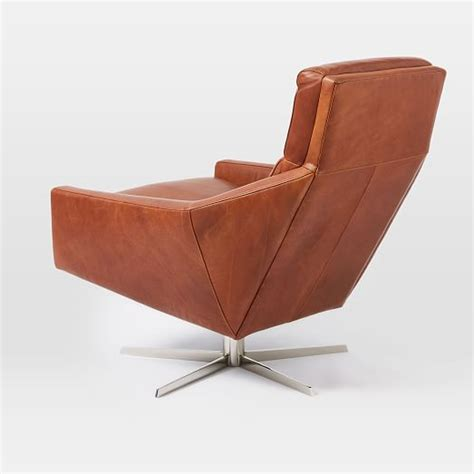 Leather Swivel Armchair by Leather Swivel Armchair West Elm