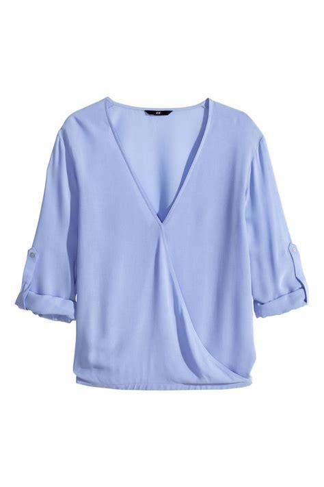 Blouse Blue Ribbon 2 wrap front blouse light blue sale h m us