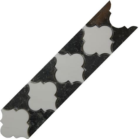 black and white marble polished black white border mosaic