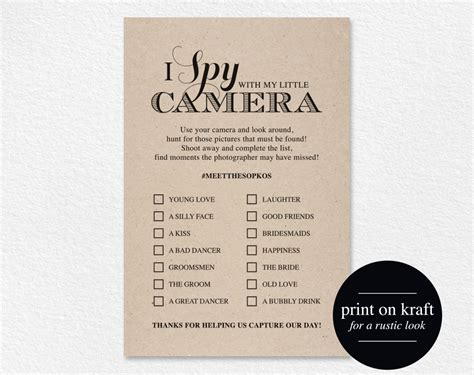 I Spy Wedding Game Template Free