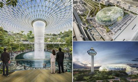 Pro Di Singapore Il Nuovo Terminal Per L Aeroporto Di Singapore Con Un Parco E Una Cascata