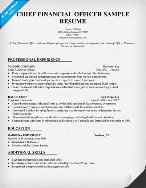 cfo sle resume officer resume exles 28 images officer resume format