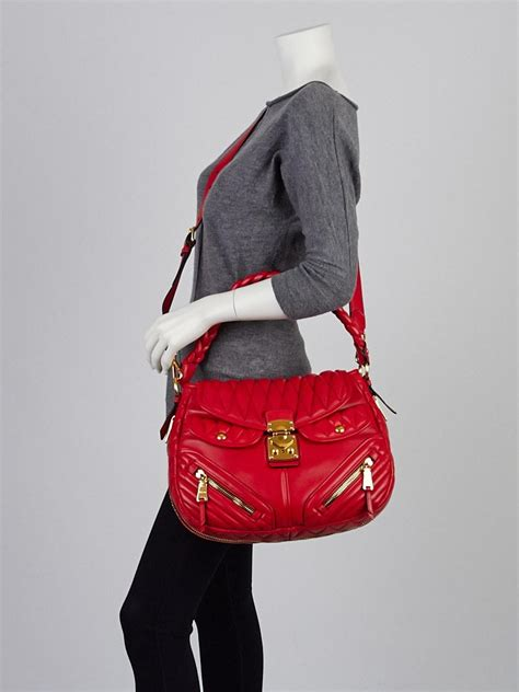 Miu Miu Quilted Leather Hobo by Miu Miu Rosso Quilted Nappa Leather Biker Coffer Hobo Bag