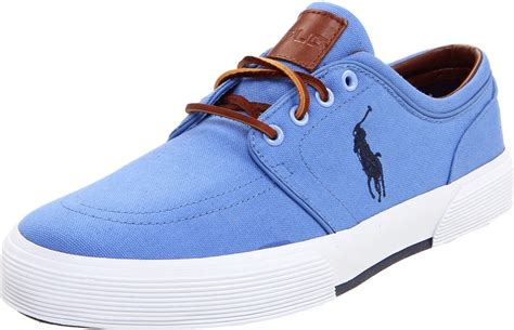 polo ralph mens faxon low sneaker in blue for