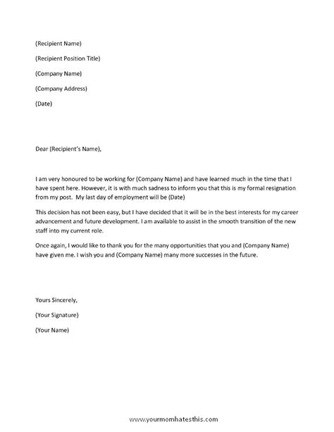Letter Of Resignation Template Pdf by Resignation Letter Sles