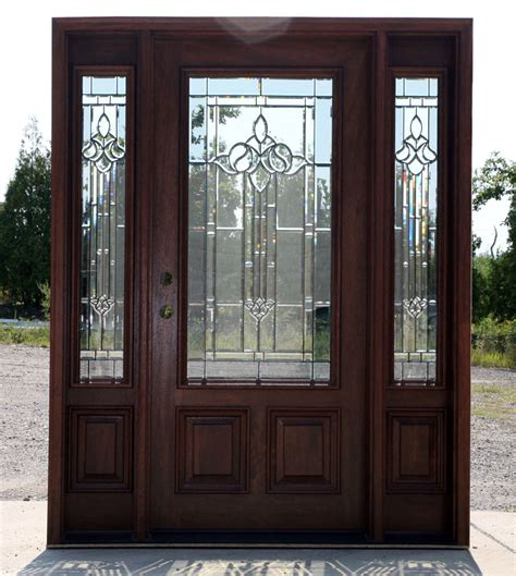 What Are Exterior Doors Made Of with Mahogany Exterior Door With Sidelights N 200 Mystic 6 8 Ebay
