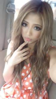 asian with colored gyaru make up orange hair colors brown hairs