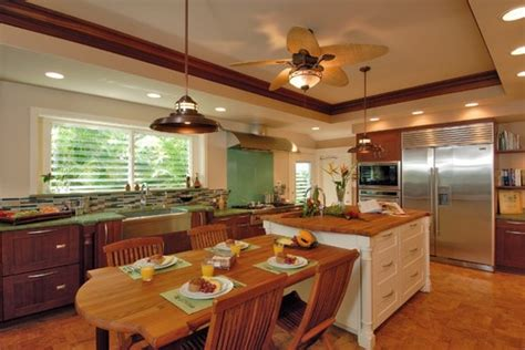 Tropical Kitchen Design Farm Table Instead Of Island
