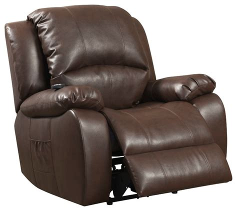 Shiatsu Recliner by Brown Reconstituted Leather Reclining Chair With Shiatsu