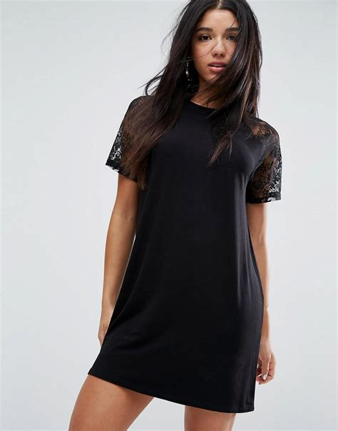 Lace Sleeve T Shirt Dress lyst asos t shirt dress with lace raglan sleeve in black