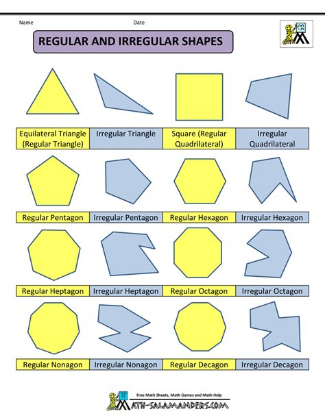 printable shapes names polygon shapes regular and irregular shapes col math