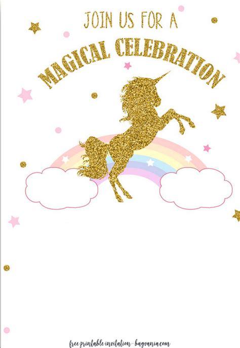 Free Printable Golden Unicorn Birthday Invitation Template Free Invitation Templates Drevio Unicorn Birthday Invitations Template