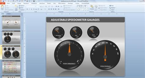 Powerpoint Dashboard Toolkit Powerpoint Speedometer Template