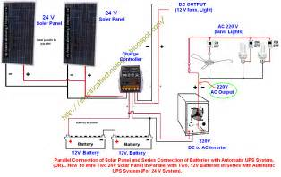 how to wire two 24v solar panels in parallel with two 12v batteries in series with automatic