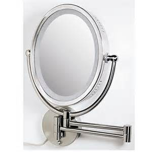 Makeup Mirror With Lights Mounted To Wall Zadro Ovlw68 Oval Two Sided 8x 1x Lighted Wall Mount